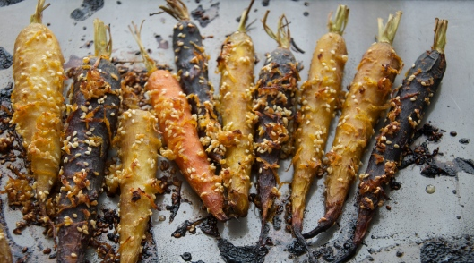 Ginger Orange Marinated Carrots with Miso Vinaigrette - A Pat & A Pinch