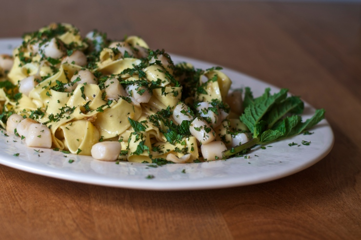 Minted Lemon Pappardelle with Butter-Seared Baby Scallops - A Pat & A Pinch