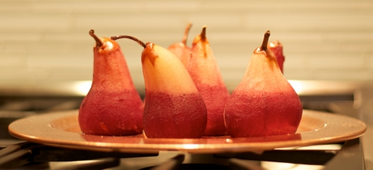Red Wine Poached Pears with Crème Fraîche - A Pat & A Pinch