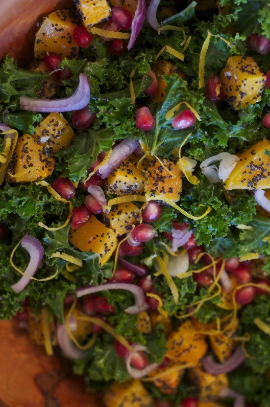 Poppy Seed-Crusted Butternut Squash with Kale and Pomegranates